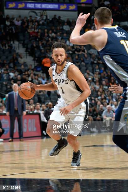Kyle Anderson of the San Antonio Spurs handles the ball against the Denver Nuggets on January 30 2018 at the ATT Center in San Antonio Texas NOTE TO...