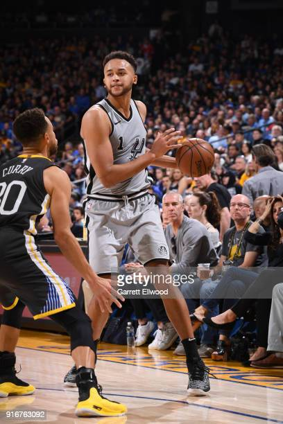 Kyle Anderson of the San Antonio Spurs handles the ball against the Golden State Warriors on February 10 2018 at Oracle Arena in Oakland California...