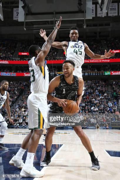 Kyle Anderson of the San Antonio Spurs handles the ball against the Utah Jazz on February 12 2018 at vivintSmartHome Arena in Salt Lake City Utah...