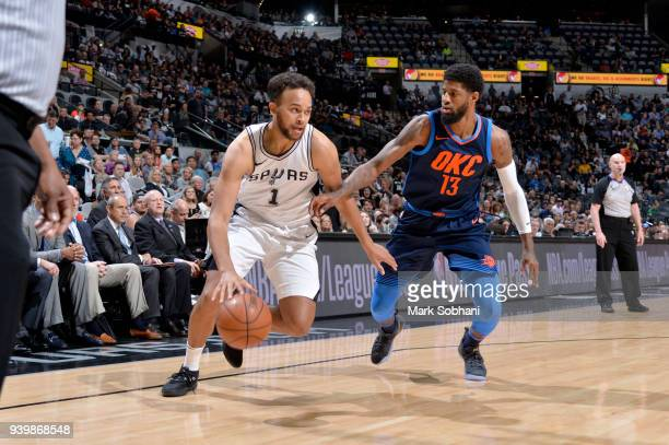 Kyle Anderson of the San Antonio Spurs handles the ball against the Oklahoma City Thunder on March 29 2018 at the ATT Center in San Antonio Texas...