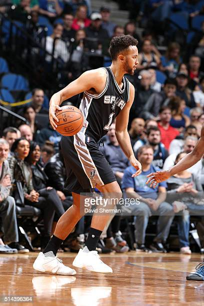 Kyle Anderson of the San Antonio Spurs handles the ball during the game against the Minnesota Timberwolves on March 8 2016 at Target Center in...