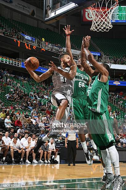 Kyle Anderson of the San Antonio Spurs looks to pass against the Boston Celtics during the Utah Jazz Summer League game on July 9 2015 at...