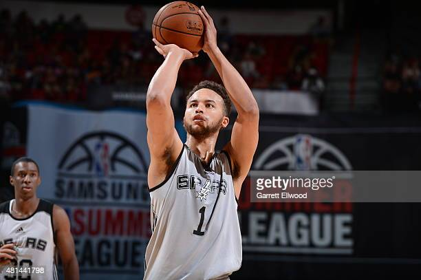 Kyle Anderson of the San Antonio Spurs prepares to shoot a free throw against the Phoenix Suns during the Las Vegas Summer League Championship on...