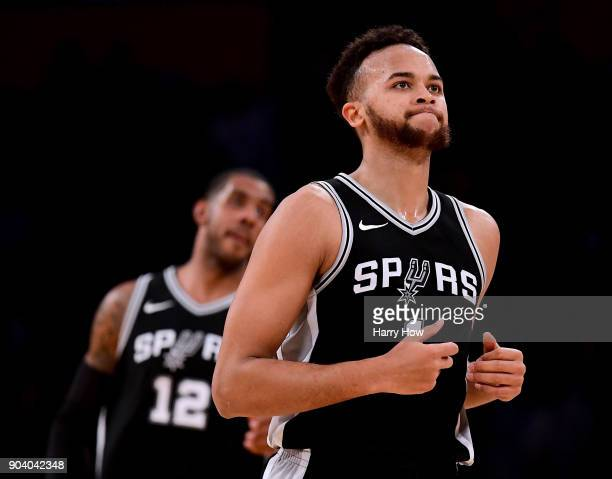 Kyle Anderson of the San Antonio Spurs reacts after a timeout during the first half against the Los Angeles Lakers at Staples Center on January 11...