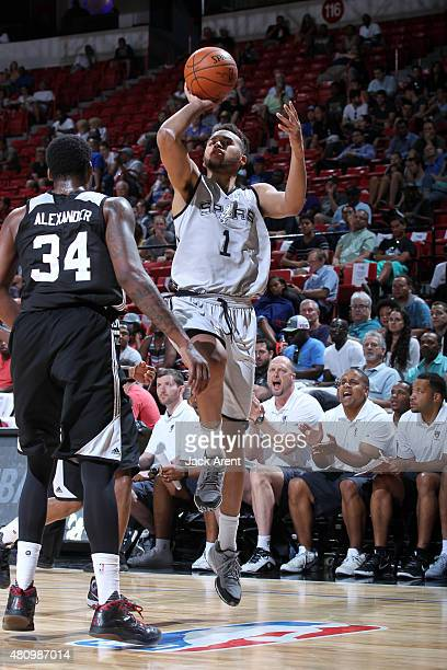 Kyle Anderson of the San Antonio Spurs shoots against the Brooklyn Nets during the 2015 NBA Las Vegas Summer League game on July 16 2015 at Thomas...