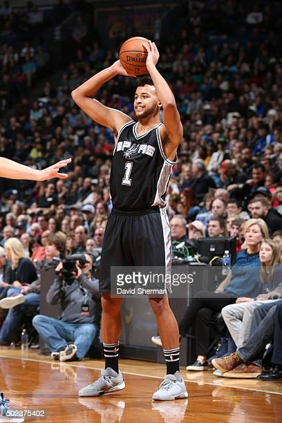 Kyle Anderson of the San Antonio Spurs shoots against the Minnesota Timberwolves during the game on December 23 2015 at Target Center in Minneapolis...