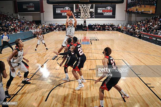 Kyle Anderson of the San Antonio Spurs shoots against the Portland Trail Blazers on July 14 2015 at The Cox Pavilion in Las Vegas Nevada NOTE TO USER...