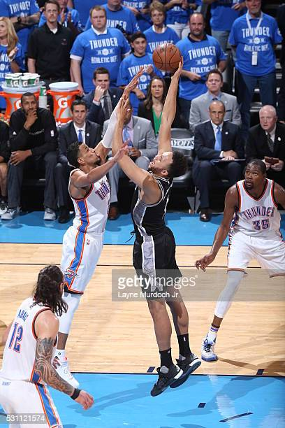 Kyle Anderson of the San Antonio Spurs shoots the ball against the Oklahoma City Thunder in Game Six of Western Conference Quarterfinals of the 2016...