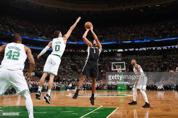 Kyle Anderson of the San Antonio Spurs shoots the ball against the Boston Celtics on October 30 2017 at the TD Garden in Boston Massachusetts NOTE TO...