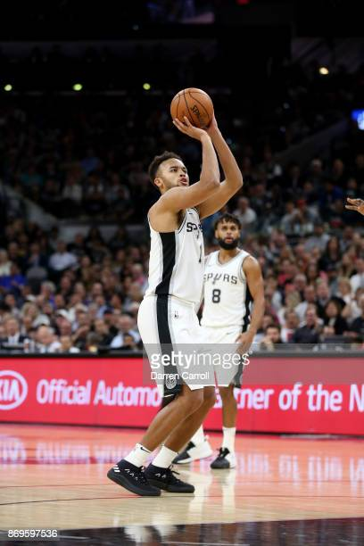 Kyle Anderson of the San Antonio Spurs shoots the ball against the Golden State Warriors on November 2 2017 at the ATT Center in San Antonio Texas...
