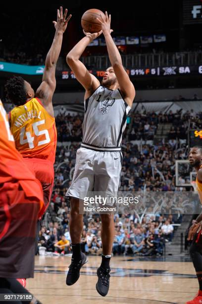 Kyle Anderson of the San Antonio Spurs shoots the ball against the Utah Jazz on March 23 2018 at the ATT Center in San Antonio Texas NOTE TO USER...