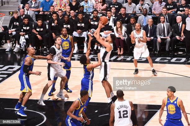 Kyle Anderson of the San Antonio Spurs shoots the ball against the Golden State Warriors in Game Three of Round One of the 2018 NBA Playoffs on April...