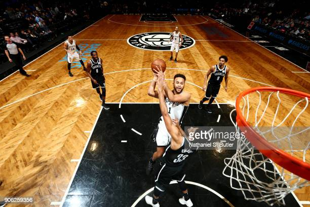 Kyle Anderson of the San Antonio Spurs shoots the ball during the game against the Brooklyn Nets on January 17 2018 at Barclays Center in Brooklyn...