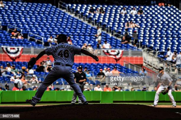 Kyle Barraclough of the Miami Marlins closes the game in the ninth inning against the Chicago Cubs at Marlins Park on April 1 2018 in Miami Florida