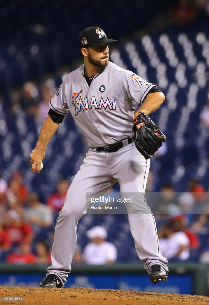 Kyle Barraclough #46 of the Miami Marlins throws a pitch in the seventh inning during game two of a doubleheader against the Philadelphia Phillies at Citizens Bank Park on August 22, 2017 in Philadelphia, Pennsylvania. The Marlins won 7-4.