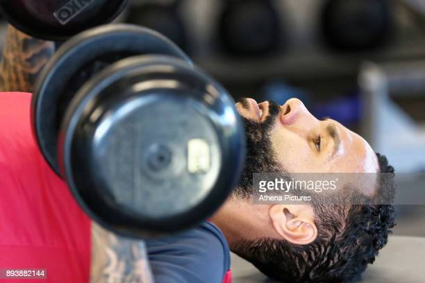 Kyle Bartley exercises in the gym during the Swansea City Training at The Fairwood Training Ground on December 15 2017 in Swansea Wales
