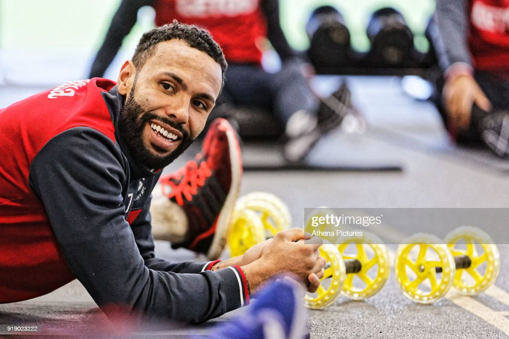 Kyle Bartley exercises in the gym during the Swansea City Training at The Fairwood Training Ground on February 15, 2018 in Swansea, Wales.