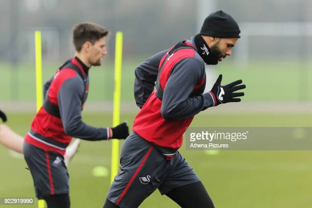 Kyle Bartley in action during Swansea City training at The Fairwood Training Ground on February 21 2018 in Swansea Wales