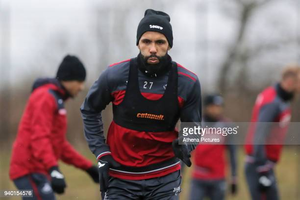 Kyle Bartley in action during the Swansea City Training Session and Press Conference at The Fairwood Training Ground on March 29 2018 in Swansea Wales
