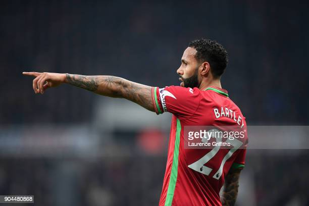 Kyle Bartley of Swansea City gives instructions during the Premier League match between Newcastle United and Swansea City at St James Park on January...