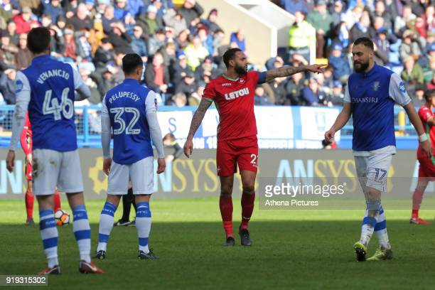 Kyle Bartley of Swansea City gives instructions to his team mates during The Emirates FA Cup Fifth Round match between Sheffield Wednesday and...