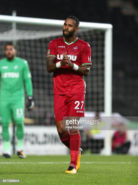 Kyle Bartley of Swansea City in action during the Carabao Cup Second Round match between Milton Keynes Dons and Swansea City at StadiumMK on August...