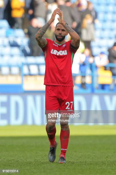 Kyle Bartley of Swansea City thanks away supporters during The Emirates FA Cup Fifth Round match between Sheffield Wednesday and Swansea City at...
