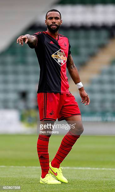 Kyle Bartley of Swansea in action during the Pre Season Friendly between Plymouth Argyle and Swansea City at Home Park on July 27 2014 in Plymouth...