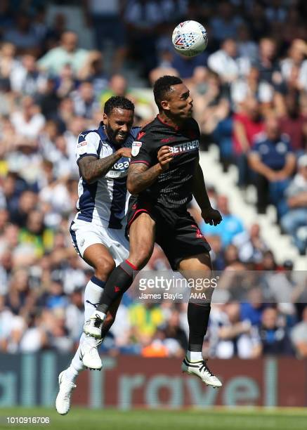 Kyle Bartley of West Bromwich Albion and Josh Magennis of Bolton Wanderers during the Sky Bet Championship match between West Bromwich Albion and...