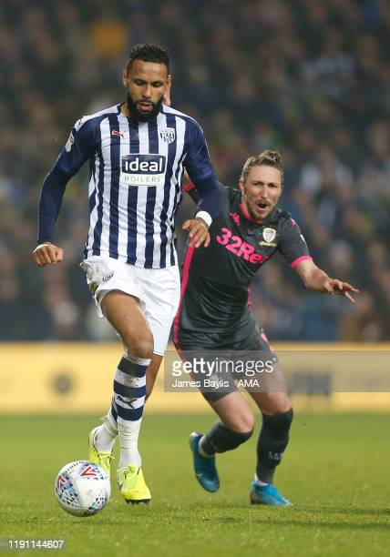 Kyle Bartley of West Bromwich Albion and Luke Ayling of Leeds United during the Sky Bet Championship match between West Bromwich Albion and Leeds...