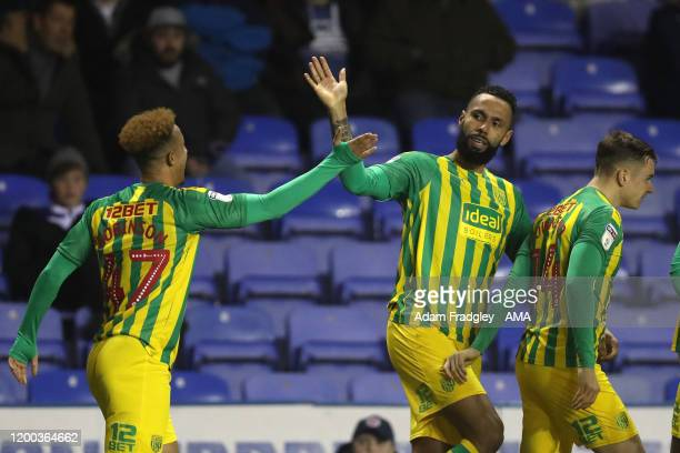 Kyle Bartley of West Bromwich Albion celebrates after scoring a goal to make it 12 with Callum Robinson during the Sky Bet Championship match between...