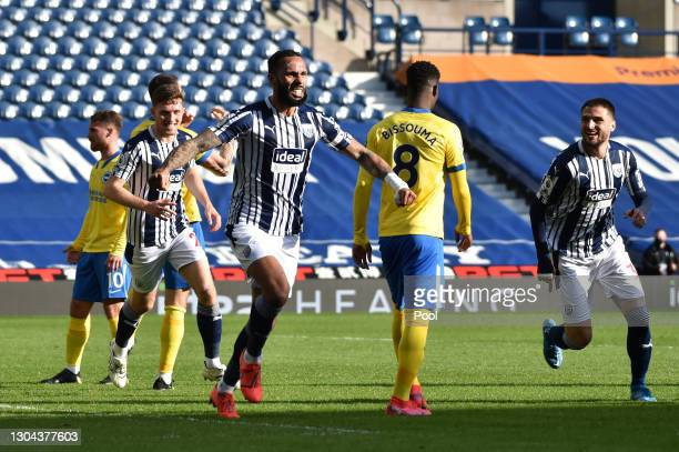 Kyle Bartley of West Bromwich Albion celebrates after scoring his team's first goal during the Premier League match between West Bromwich Albion and...
