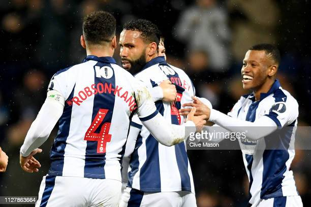 Kyle Bartley of West Bromwich Albion celebrates his goal during the FA Cup Fourth Round Replay match between West Bromwich Albion and Brighton Hove...