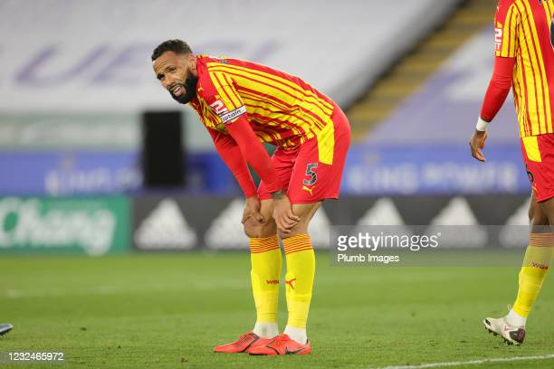 Kyle Bartley of West Bromwich Albion during the Premier League match between Leicester City and West Bromwich Albion at The King Power Stadium on...