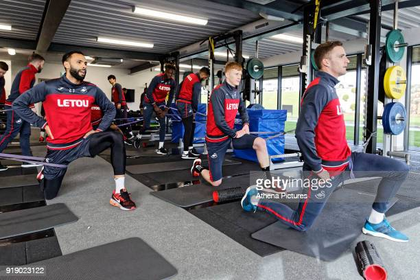 Kyle Bartley Sam Clucas and Andy King exercise in the gym during the Swansea City Training at The Fairwood Training Ground on February 15 2018 in...