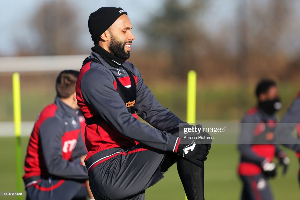 Kyle Bartley warms up during the Swansea City Training at The Fairwood Training Ground on January 11, 2018 in Swansea, Wales.
