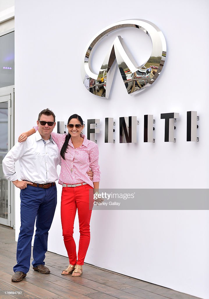Kyle Bazemore, Senior Manager, Product Communications, Infiniti, (L) and JMPR's Brianna Buhr attend day 2 of Moments of Inspiration presented by Infiniti in partnership with Hearst Magazines on August 16, 2013 in Pebble Beach, California.