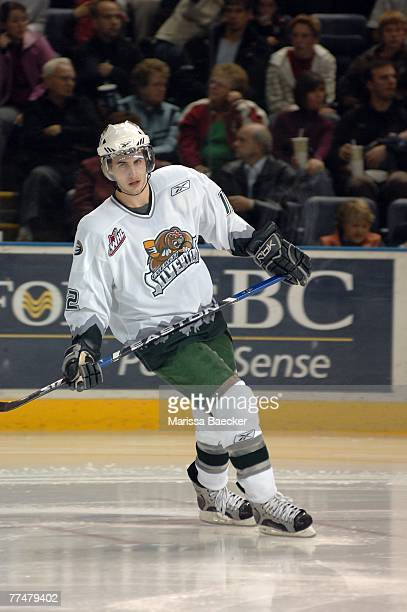 Kyle Beach of the Everett Silvertips skates against the Kelowna Rockets on October 19 2007 at Prospera Place in Kelowna Canada Beach is a native of...