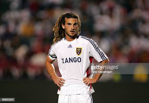 Kyle Beckerman of Real Salt Lake catches his breath just prior to a Chivas USA corner kick during the second leg of their MLS playoff match at The...