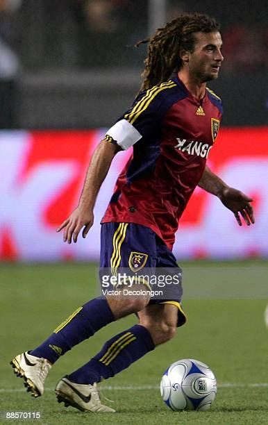 Kyle Beckerman of Real Salt Lake looks to make a play with the ball during the MLS match against the Los Angeles Galaxy at The Home Depot Center on...