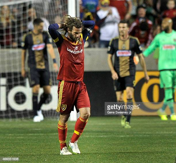 Kyle Beckerman of Real Salt Lake reacts to a missed goal shot against the Philadelphia Union in the first half at Rio Tinto Stadium on March 14 2015...