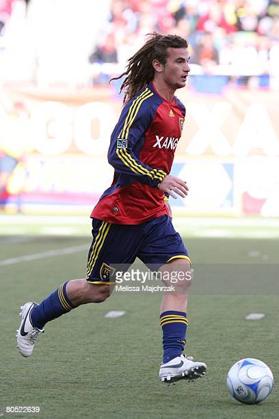 Kyle Beckerman of the Real Salt Lake brings the ball up the field against the Chicago Fire at Rice Eccels Stadium on March 29, 2008 in Salt Lake...