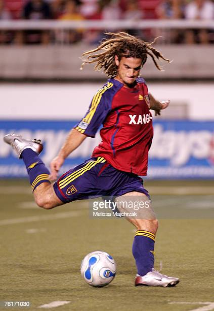 Kyle Beckerman of the Real Salt Lake kicks the ball against the Chicago Fire at Rice-Eccles Stadium on August 18, 2007 in Salt Lake City, Utah.
