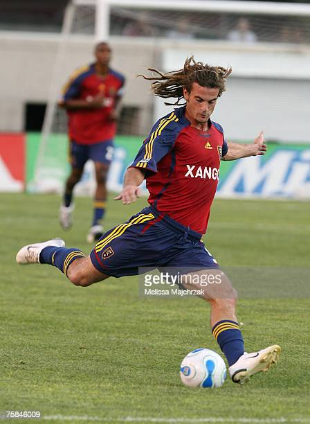 Kyle Beckerman of the Real Salt Lake kicks the ball against the New England Revolution on Saturday July 28 at RiceEccles Stadium in Salt Lake City UT