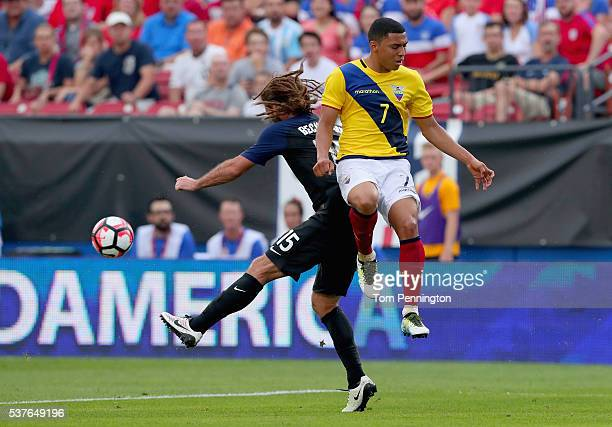 Kyle Beckerman of the United States controls the ball against Jefferson Montero of Ecuador during an International Friendly match at Toyota Stadium...