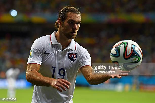 Kyle Beckerman of the United States holds the ball during the 2014 FIFA World Cup Brazil Round of 16 match between Belgium and the United States at...