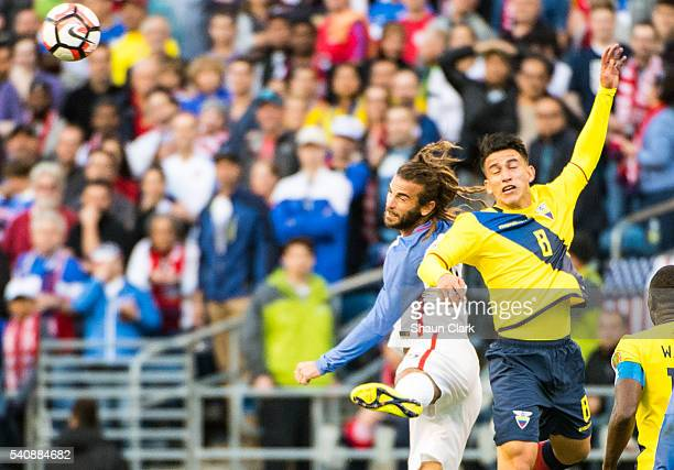 Kyle Beckerman of United States wins a header against Fernando Gaibor of Ecuador during the Copa America Centenario Quarterfinal match between United...