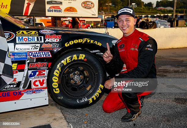 Kyle Benjamin driver of the Chevrolet poses after winning the NASCAR KN Pro Series East Kevin Whitaker Chevrolet 140 at Greenville Pickens Speedway...
