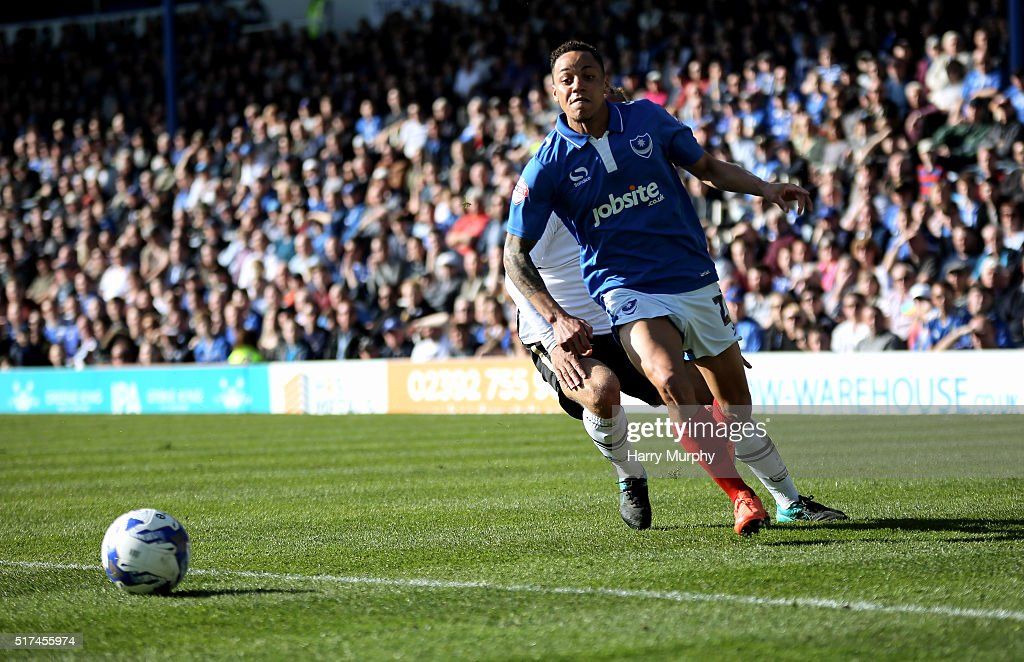 Kyle Bennett of Portsmouth chases the ball during the Sky Bet League Two match between Portsmouth and Notts County at Fratton Park on March 25, 2016 in Portsmouth, England.