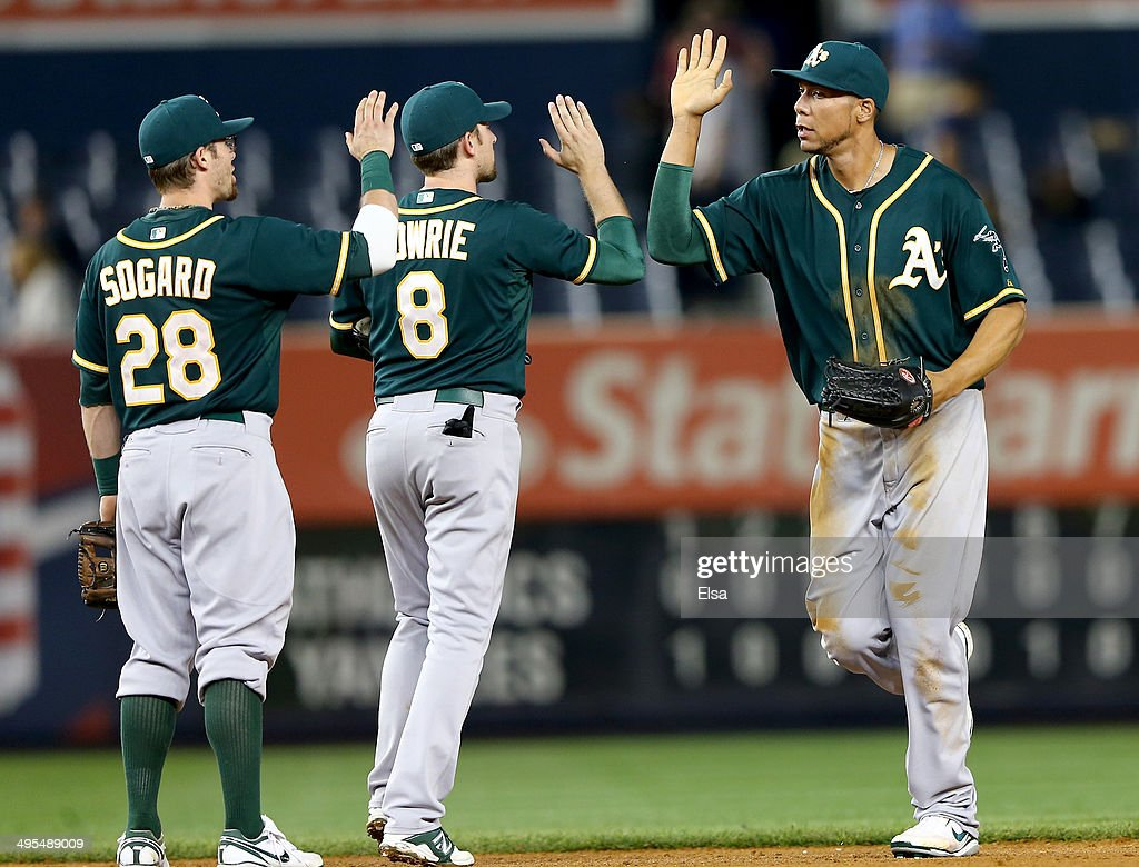 Kyle Blanks #88 of the Oakland Athletics celebrates the win with teammate Jed Lowrie #8 and Eric Sogard #28 after the game against the New York Yankees on June 3, 2014 at Yankee Stadium in the Bronx borough of New York City.The Oakland Athletics defeated the New York Yankees 5-2 in 10 innings.